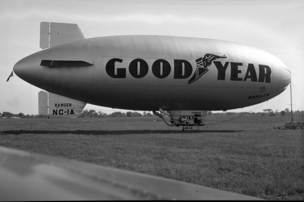 The Goodyear Ranger II (NC-1A) blimp docked to it's mobile station at Buffalo Airpark on June 13, 1947.
