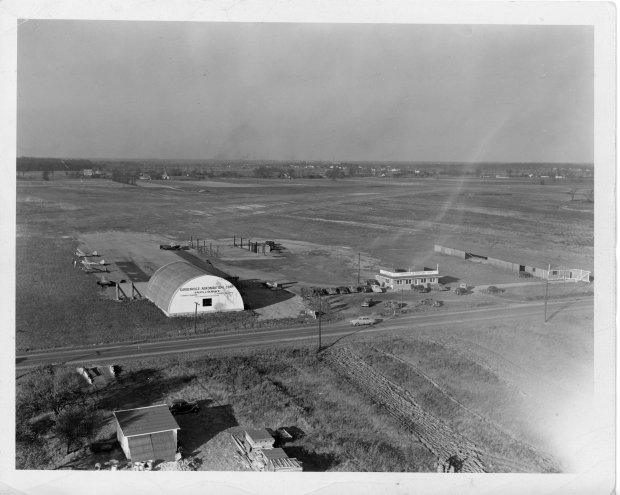 An aerial photo of the Gardenville Airport in 1944.