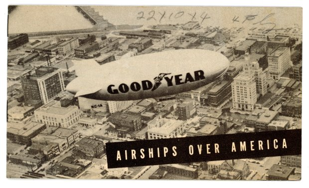 "The cover of Goodyear's booklet ""Airships Over America""."