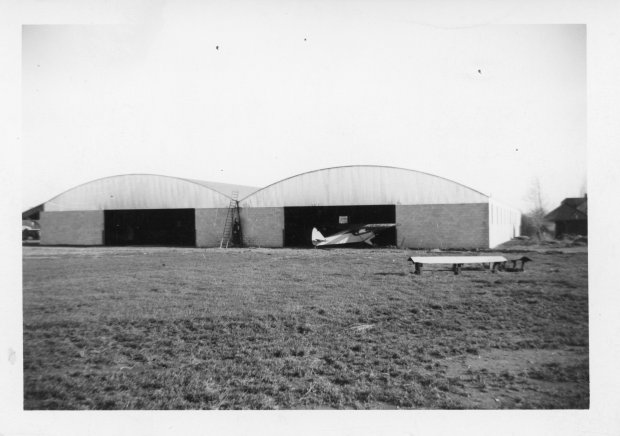 The finished construction of the Twin hangars at Buffalo Airpark in 1951.