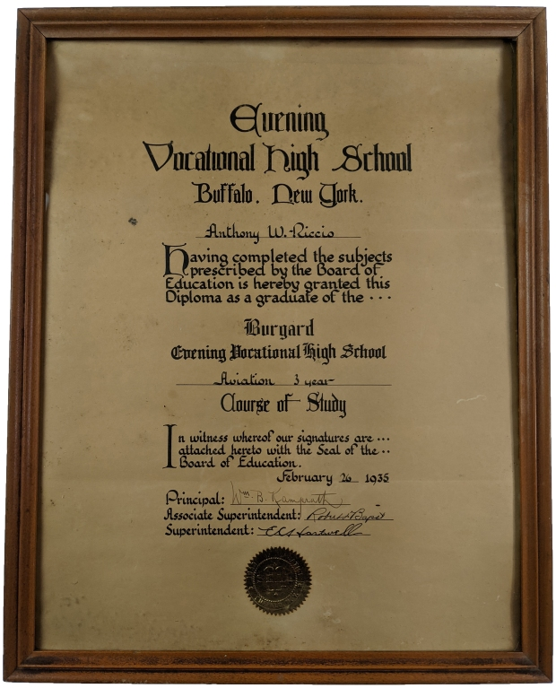 Tony Riccio's aviation diploma from the Burgard Evening Vocational High School dated February 26, 1935.