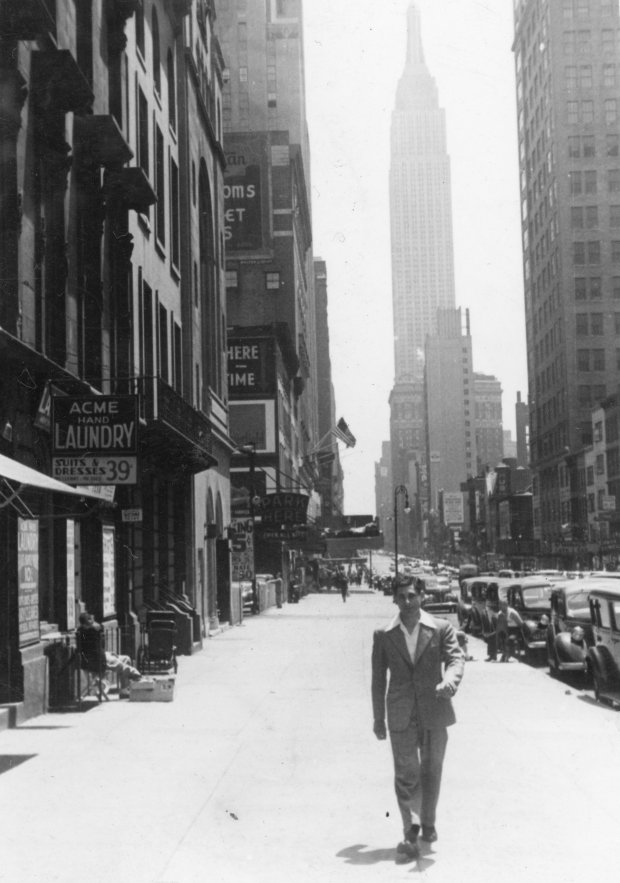 Tony Riccio walking on the sidewalk of 34th Street in New York City on May 28, 1939.