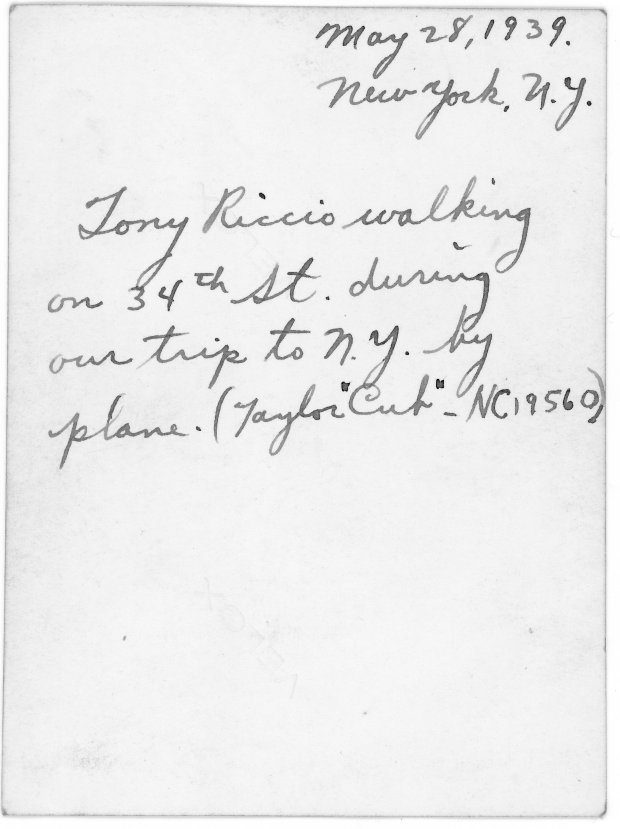 The back side of the above photo describing Tony Riccio in New York City on May 28, 1939.