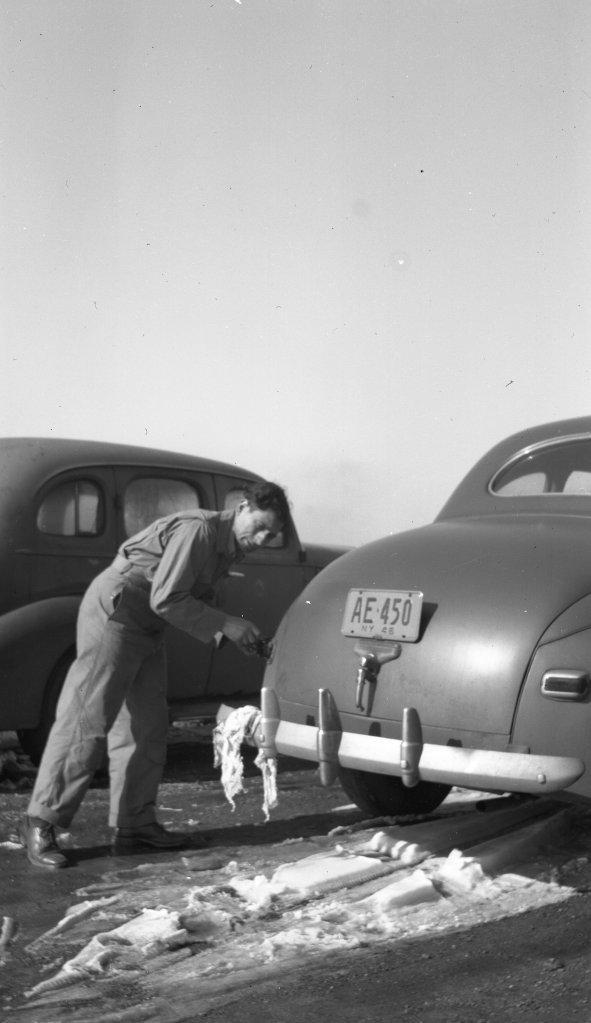 Tony Riccio refueling his car at the Gardenville Airport.