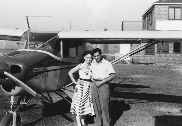 Tony Riccio and an unknown person standing next to a Piper Pacer 125 airplane at Buffalo Airpark.
