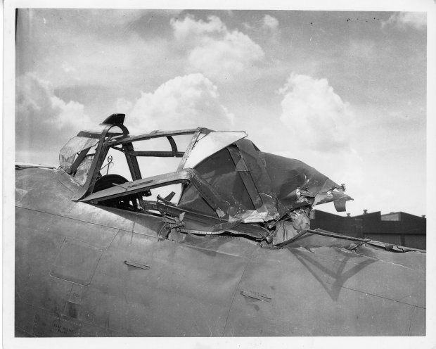 The force of the impact shattered the front of Tony's P-47 canopy.