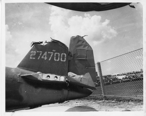 A very damaged vertical and horizontal stabilizer on Tony's P-47!