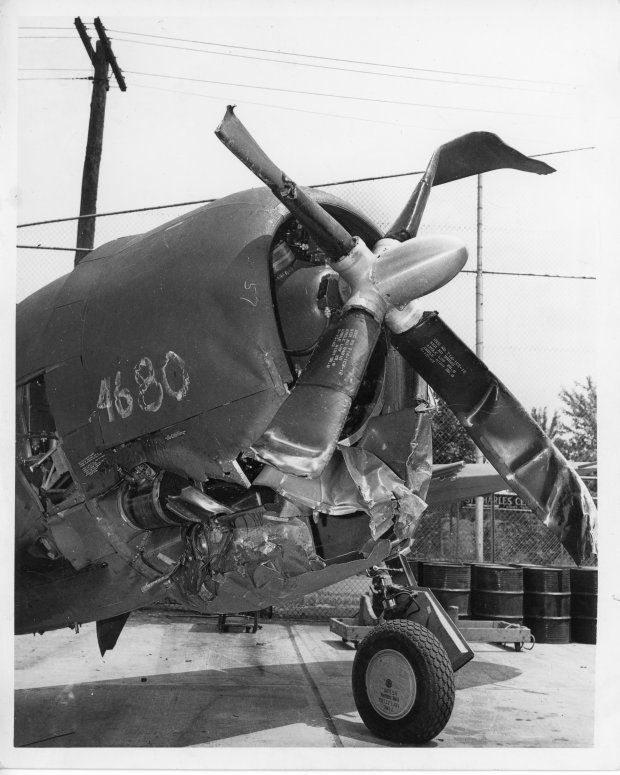 The front fuselage and propeller of the P-47 that landed on top of Tony.